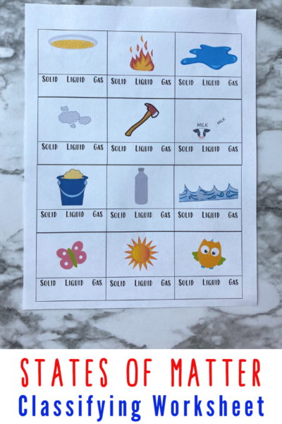 Teaching the states of matter for kids is an important science topic that they should learn. This can be slightly confusing at first, but with activities like this states of matter kindergarten worksheets, they'll grasp it in no time! This solid liquid gas kindergarten worksheet is a simple states of matter worksheet where kindergartners and grade 1 students will circle the correct category for each items shown. is a great way to help children compare and contrast between the different states of matter and make the best choice.