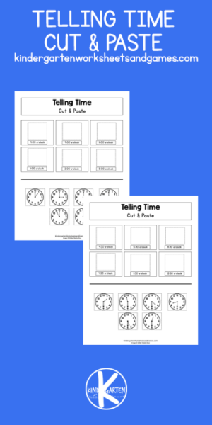 One of the skils pre-k, kindergarten, and first graders need to master is learning to tell time on a clock. Using handy, free printable, telling time worksheets like these cut and paste worksheets is a great way to practice. These clock worksheets allow kids to practice without any prep work. Simply print telling time worksheets pdf and you are ready to play and learn!