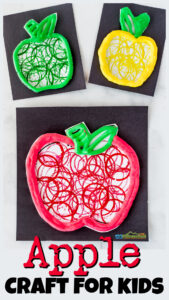 tp stamped, puffy paint apple craft