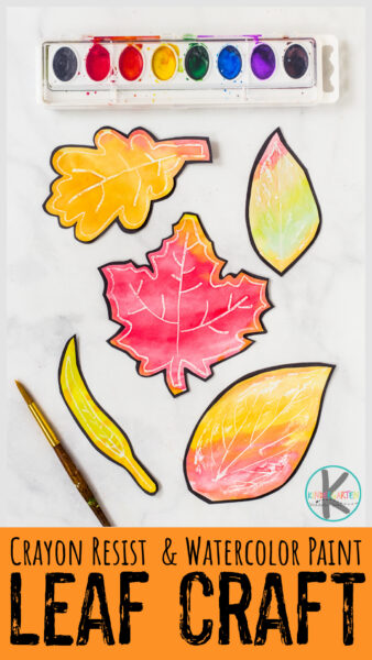 Create a beautiful fall leaf art project with a simple crayon resist and watercolor paint technique. This fall leaves craft is easy autumn crafts for kids!