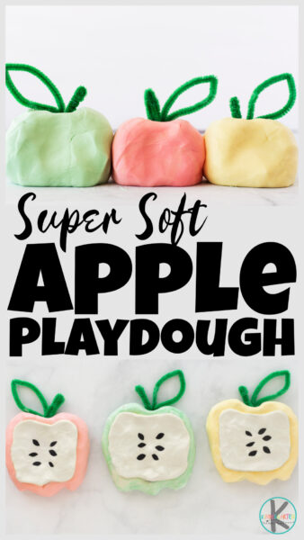 SUPER soft apple playdough recipe is no cook and takes just 2 minutes to make! This autumn playdough is perfect for apple activities in September.