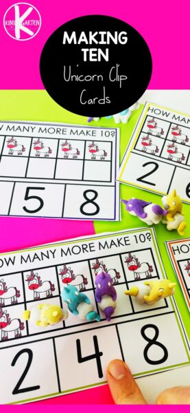 Do your kids love unicorns? If so this may be a great way to get your preschool, pre-k, and kindergarten age child to learn aboutmaking 10. Using these make 10 printable clip cards, you can teach ways to make 10 kindergarten whie having fun. Simply printkindergarten math and you are raedy to teachmake 10 strategy to kindergartners.