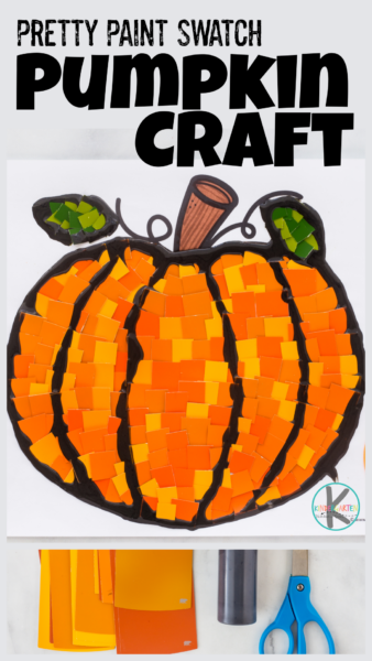 Grab some orange paint swatch samples and our FREE pumpin template to make this cute pumpkin craft for kids. Gorgeous Autumn art projet for October.