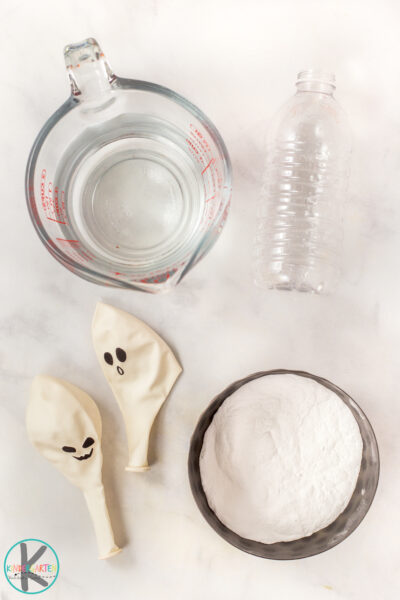 All you need for theis funhalloween activity are a few simple materials you may already have on hand: Baking soda white distilled vinegar empty water bottle funnel (optional) white balloon black sharpie marker