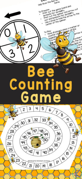 Once children have mastered counting to 20 it's time to move tocounting to 50. In thiscounting 1-50 game, children will have fun buzzing around the math game board they play this number games for kindergarten. ThisBee Counting Game is a great way to work on counting from one through fifty with preschool, pre-k, and kindergarten students. Simply printbee printable and you are ready to play thiskindergarten counting game!