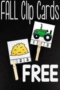 syllable clip cards fall activities for kindergarten