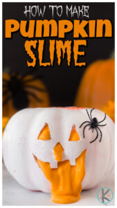 Celebrate fall with thispumpkin slime recipe perfect for October. All you need are a few simple supplies and I will show youhow to make pumpkin slime! Thishalloween slime makes EPIC fun andhalloween activities for kids from toddler, preschool, pre-k, kindergarten, first grade, and 2nd graders too!