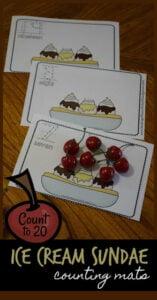 ice cream sundae counting game for kindergarten