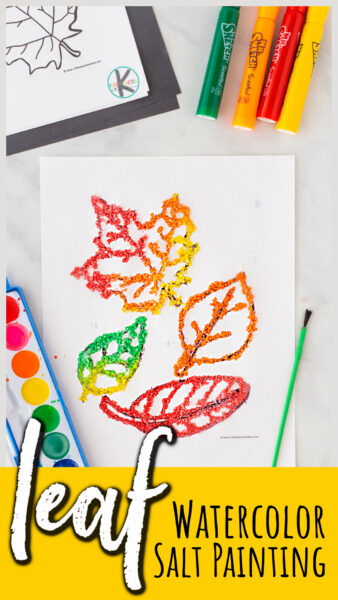 Create a stunningleaf craft with this funwatercolor salt painting project for Autumn! Use the free leaf template to creat these gorgeous fall art crafts!