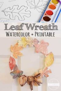 wreath leaft craft with free printable template