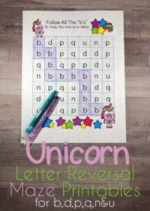 unicorn letter b and d letter reversal worksheets
